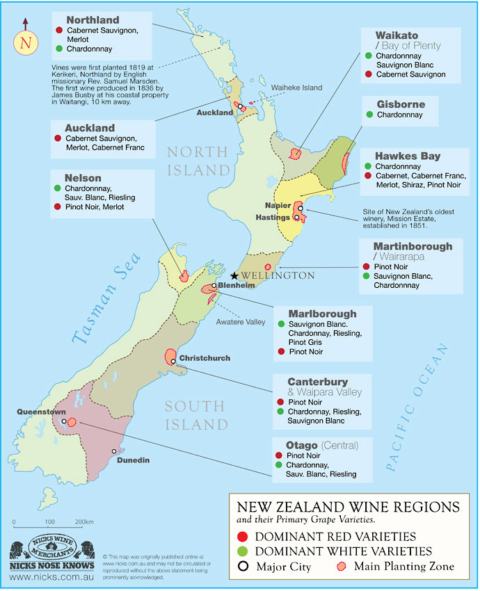 New Zealand Wine Growing Regions Map.On The Grape Trail Newsletter 10 2